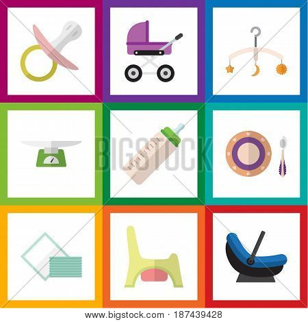 Flat Baby Set Of Mobile, Stroller, Pram And Other Vector Objects. Also Includes Stroller, Child, Toilet Elements.