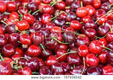 Cherries Background Bunch Texture Red Fresh Shop Market Food