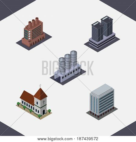 Isometric Architecture Set Of Office, Chapel, Industry And Other Vector Objects. Also Includes Industry, Factory, Tower Elements.
