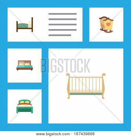 Flat Bedroom Set Of Hostel, Crib, Cot And Other Vector Objects. Also Includes Bed, Mattress, Hostel Elements.