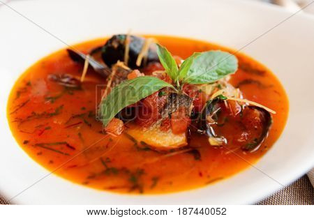 Seafood soup with tomatoes and basil