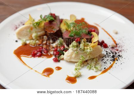 Venison fillet and potato puree, gourmet dish
