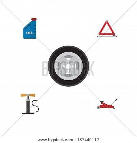 Flat Auto Set Of Warning, Petrol, Tire And Other Vector Objects. Also Includes Car, Jerrycan, Jack Elements.