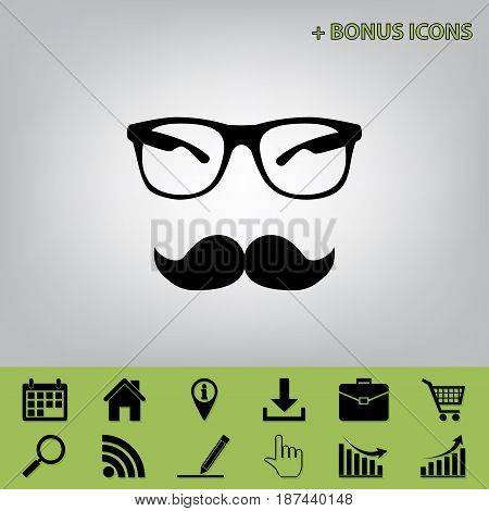 Mustache and Glasses sign. Vector. Black icon at gray background with bonus icons at celery ones
