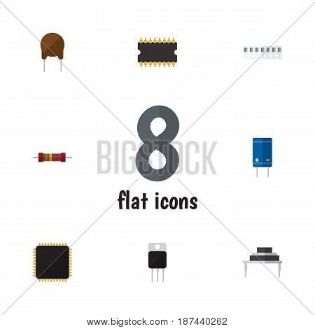Flat Appliance Set Of Microprocessor, Receiver, Triode And Other Vector Objects. Also Includes Triode, Fiildistor, Microprocessor Elements.