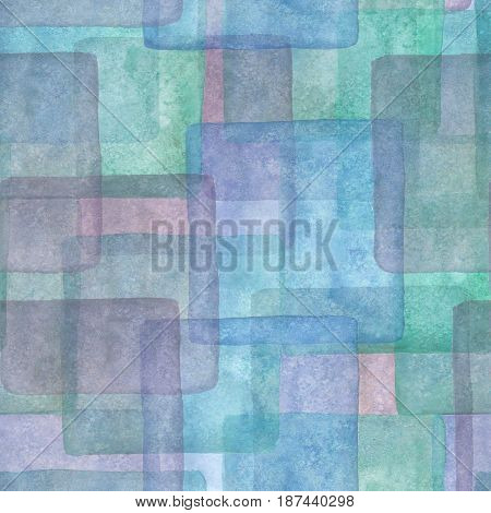 Seamless pattern with hand drawn colorful squares. Watercolor blue purple and turquoise background