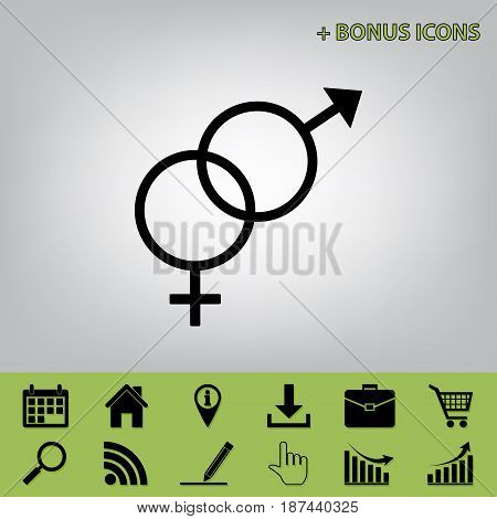 Sex symbol sign. Vector. Black icon at gray background with bonus icons at celery ones