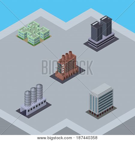 Isometric Architecture Set Of Clinic, Water Storage, Industry And Other Vector Objects. Also Includes Building, Skyscraper, Hospital Elements.