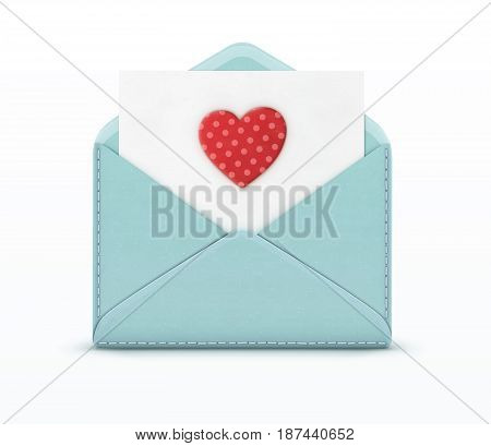 Vector illustration of love letter concept with open blue envelope and white paper with big red spotted heart