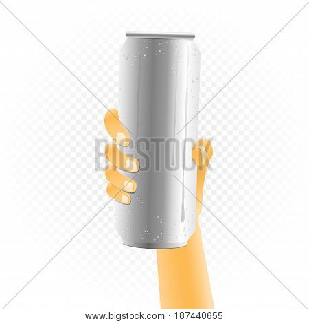 Big can of drink template hold up in hand isolated on white transparent background. Metal bottle show concept with water condensate