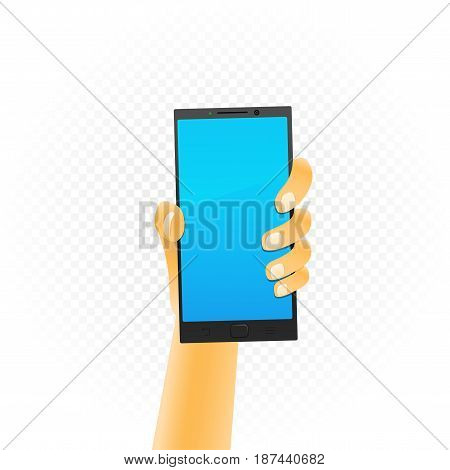 Black smartphone template hold up in hand isolated on white transparent background. Phone technology show concept
