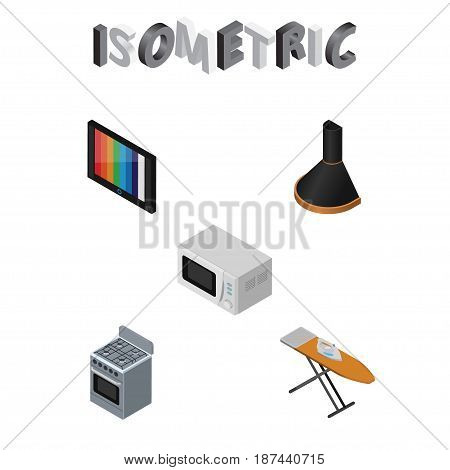Isometric Technology Set Of Television, Cloth Iron, Stove And Other Vector Objects. Also Includes Extractor, Cooker, Device Elements.