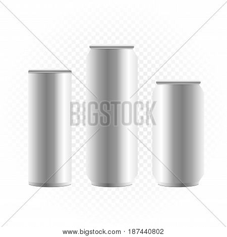 Big can of drink template set collection on white transparent background. Metal bottle show concept