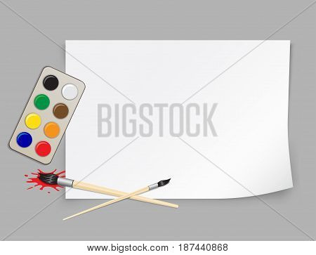 Paper template brush and palette of colors to educatoin drawing with shadow on gray background