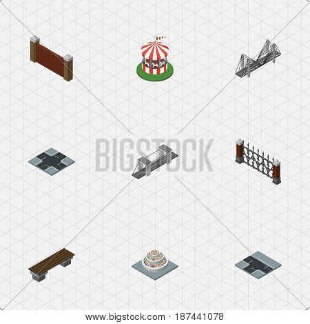 Isometric Architecture Set Of Bench, Intersection, Highway And Other Vector Objects. Also Includes Fence, Carousel, Barrier Elements.