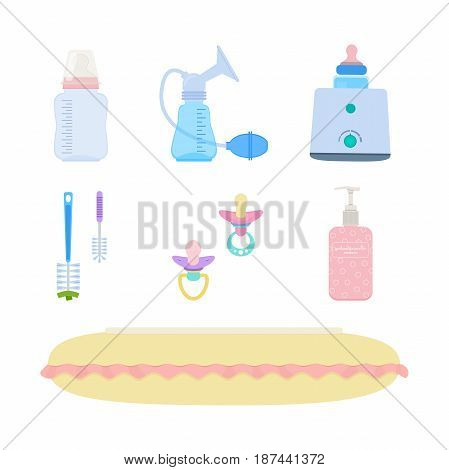 Vector set of breastfeeding elements: feeding-bottle breast pump milk sterilizer and bottle warmer bottlebrushes dummies skincare cream feeding pillow
