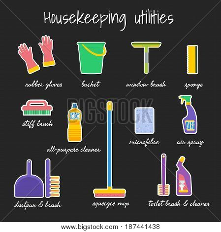 Sticker set of housekeeping utilities. Vector illustration