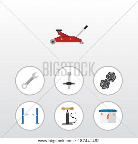 Flat Auto Set Of Wheel Pump, Lifting, Auto Jack And Other Vector Objects. Also Includes Lifting, Jack, Car Elements.