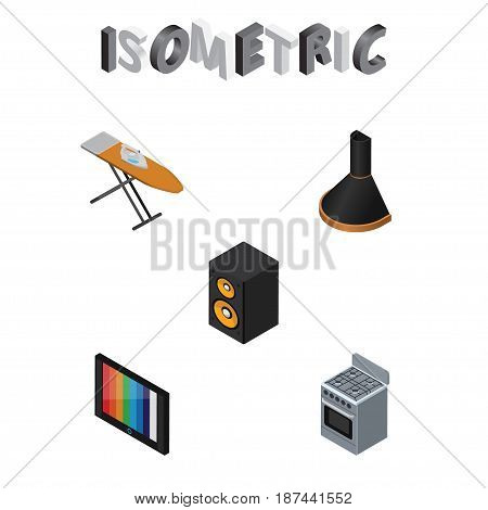 Isometric Device Set Of Cloth Iron, Stove, Air Extractor And Other Vector Objects. Also Includes Box, Tv, Cooker Elements.