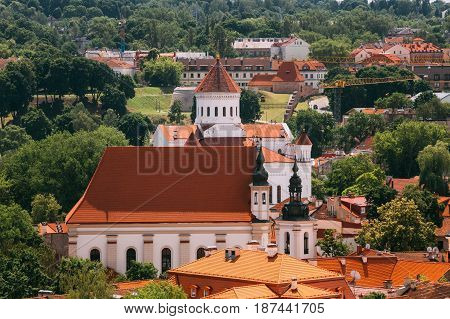 Vilnius, Lithuania. Cathedral Of Theotokos, Church Heritage Museum, St. Michael's Church In Summer Day. UNESCO World Heritage. Cathedral Of Theotokos Is Main Orthodox Christian Church Of Lithuania