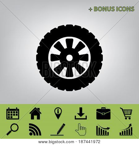 Road tire sign. Vector. Black icon at gray background with bonus icons at celery ones