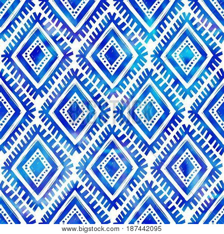 Blue watercolor indigo color tribal style vector seamless pattern tile