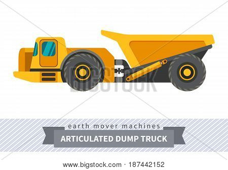 Underground articulated dump truck. Heavy equipment vehicle isolated color vector illustration on white background