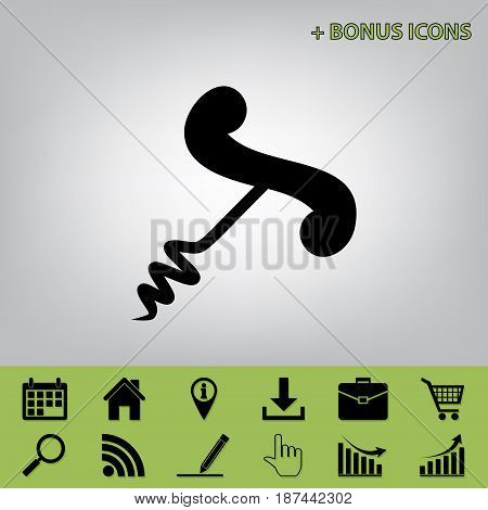 Corkscrew sign illustration. Vector. Black icon at gray background with bonus icons at celery ones