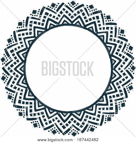 Ethnic tribal style vector hand drawn doodle frame isolated on white background