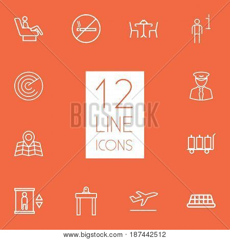 Set Of 12 Aircraft Outline Icons Set.Collection Of Pilot, Data, No Smoking And Other Elements.