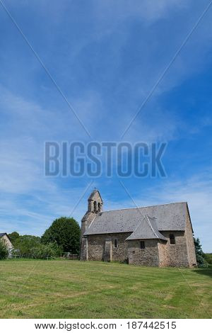Little Roman church in French village in Nouvelle-Aquitaine