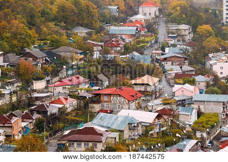 Borjomi, Samtskhe-Javakheti, Georgia - Aerial View Cityscape Of Borjomi  Resort City Autumn October Day. Borjomi Is A Resort Town In South-central Georgia With A Population Of 10, 546