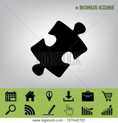 Puzzle piece sign. Vector. Black icon at gray background with bonus icons at celery ones