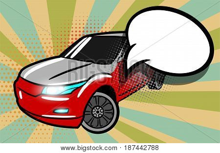 SUV car pop art style. Cartoon jeep comic book background. Sport utility vehicle on sunbeam poster banner in bright color. Luxury roadster with text speech bubble advertise sale balloon.