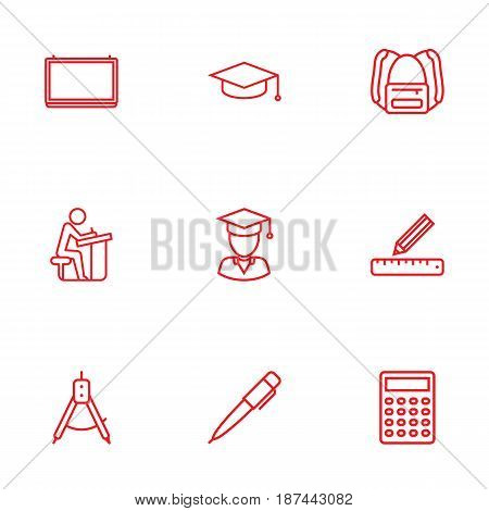 Set Of 9 Science Outline Icons Set.Collection Of School Board, Compass, Backpack And Other Elements.