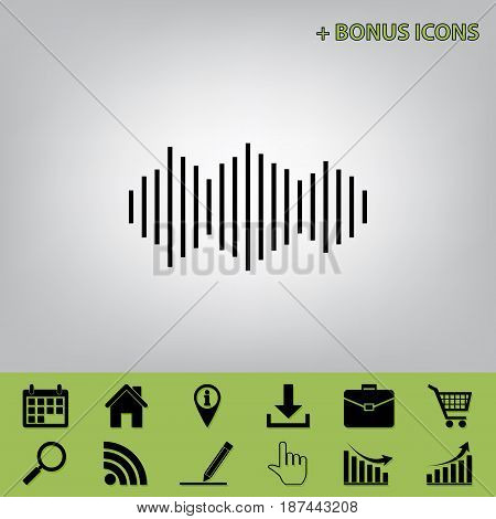 Sound waves icon. Vector. Black icon at gray background with bonus icons at celery ones