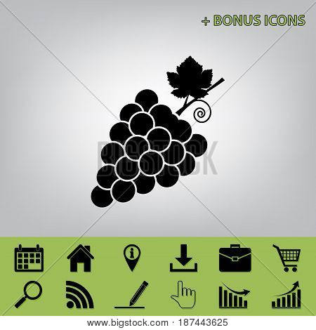 Grapes sign illustration. Vector. Black icon at gray background with bonus icons at celery ones