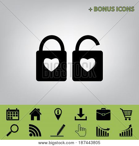 lock sign with heart shape. A simple silhouette of the lock. Shape of a heart. Vector. Black icon at gray background with bonus icons at celery ones