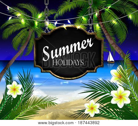 summer black board sign on tropical beach background with patio lights vector