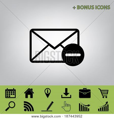 Mail sign illustration with remove mark. Vector. Black icon at gray background with bonus icons at celery ones
