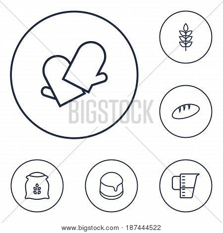 Set Of 6 Stove Outline Icons Set.Collection Of Flour, Measuring Cup, Gloves And Other Elements.