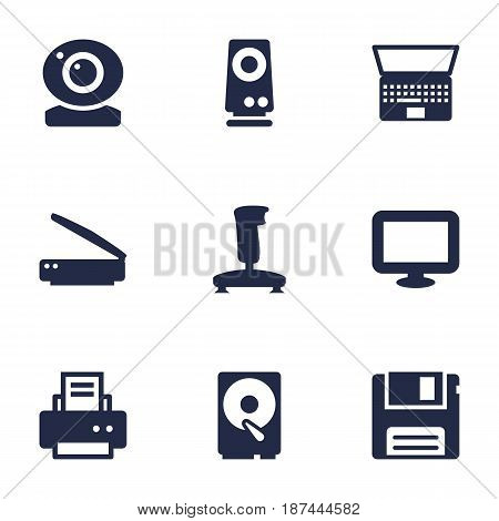 Set Of 9 Notebook Icons Set.Collection Of Peripheral, Joystick, Record And Other Elements.