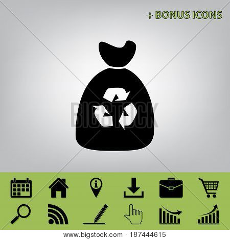 Trash bag icon. Vector. Black icon at gray background with bonus icons at celery ones