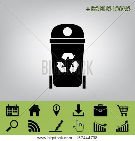 Trashcan sign illustration. Vector. Black icon at gray background with bonus icons at celery ones