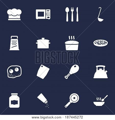 Set Of 16 Culinary Icons Set.Collection Of Saltshaker, Loaf, Jar And Other Elements.