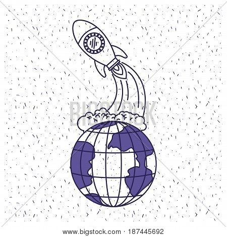 white background with blue silhouette earth globe and space rocket launching vector illustration
