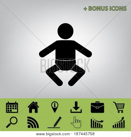 Baby sign illustration. Vector. Black icon at gray background with bonus icons at celery ones