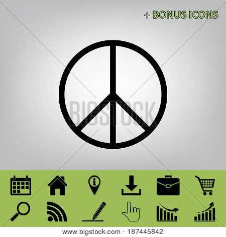 Peace sign illustration. Vector. Black icon at gray background with bonus icons at celery ones
