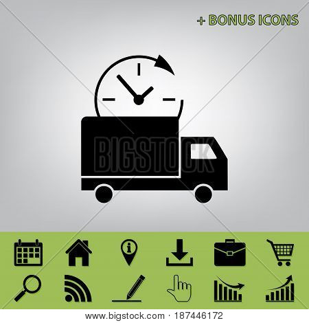 Delivery sign illustration. Vector. Black icon at gray background with bonus icons at celery ones