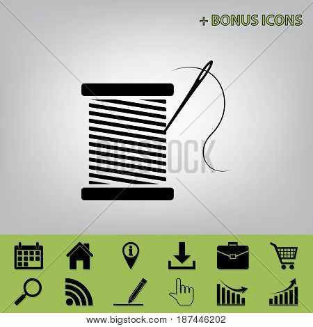Thread with needle sign illustration. Vector. Black icon at gray background with bonus icons at celery ones